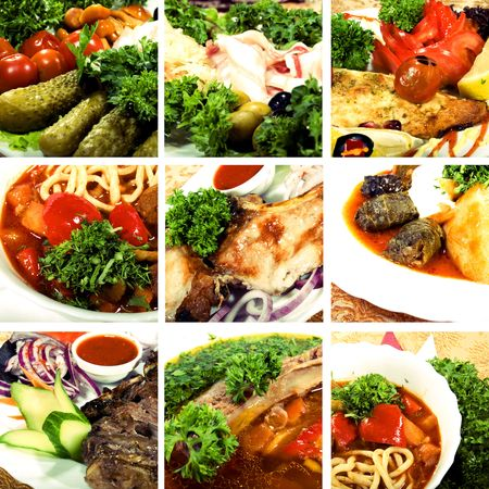 Collage of dishes, including cold collation, soup and meat dishes photo