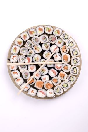 collection of different rolls served on the round plate  photo