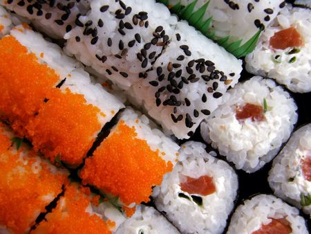 cartilaginous: collection of different Japanese rolls