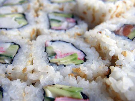 cartilaginous: appetizing  Japanese rolls close-up Stock Photo
