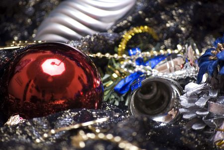 Different Christmas decorations  on the sheer black material photo
