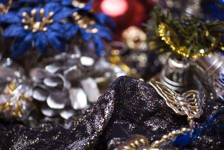 Christmas bells, ball and tinsel photo