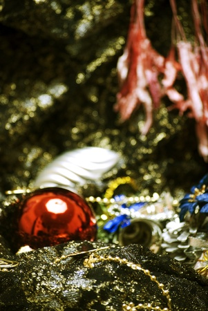Christmas decorations on the sheer black material photo