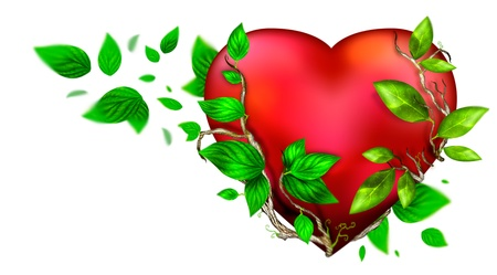 amor: Beautiful bright heart of red color with green leaves floating around it isolated over white background. Greeting card design element for Saint Valentine`s Day Stock Photo