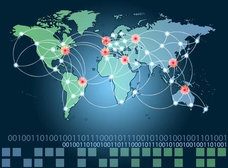 Mapa del mundo con los puntos calientes de la red de conexiones y la ubicaci�n servidores. Internet concepto