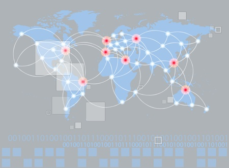 other world: Global networking symbol of international comunication featuring a world map concept with connecting technology communities using computers and other digital devices