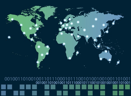 World map with hot points of connections network and servers locations. Internet concept photo