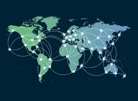 technology to communicate: Global networking symbol of international comunication featuring a world map concept with connecting technology communities using computers and other digital devices