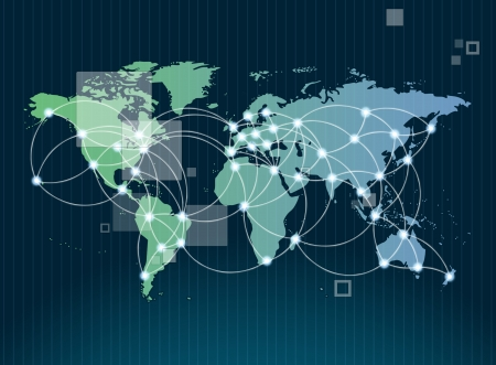 global communications: Global networking symbol of international comunication featuring a world map concept with connecting technology communities using computers and other digital devices