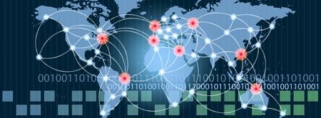 usługodawcy: Mapa świata z gorących punktach sieci połączeń i serwerów lokalizacji. Koncepcja Internet