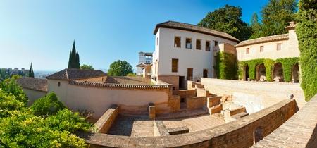 Courtyard and pool in the Generalife, Alhambra, Granada, Spain