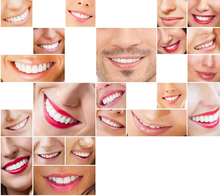toothy: Faces of smiling people in set. Healthy teeth. Smile