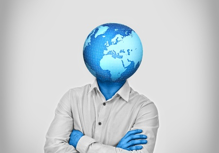 enclosed: Man with earth enclosed and growing instead of his head Stock Photo