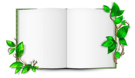 Illustration of simple blank book with leaves around it. Ecological concept Stock Illustration - 12028298