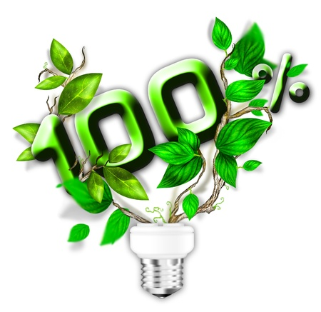 germinating: Energy saving eco lamp with green values concept Stock Photo