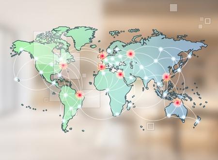 S�mbolo de una red mundial de comunicaci�n internacional que ofrece un concepto de mapa del mundo con tecnolog�a de conexi�n de las comunidades que utilizan los ordenadores y otros dispositivos digitales
