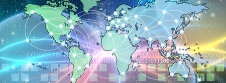 Mapa del mundo interconectado por cable (fibra �ptica) de la informaci�n. Concepto global de la informaci�n y la tecnolog�a de la comunicaci�n.
