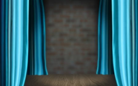 Stage curtain with light and shadow. Cyan color photo
