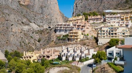 altea: Beautiful house buildings at Spanish landscape. Pueblo Mascarat, Benidorm, Alicante, Costa Blanca, Valenciana province, Spain.