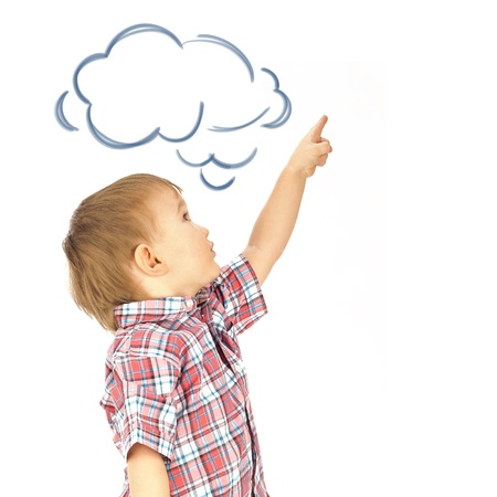 fingertip: Portrait of happy joyful beautiful little boy isolated on white background pointing up and dreaming about something. Blank cloud balloon overhead