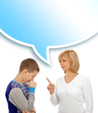 Portrait of a beautiful young woman and her son having conversation against white background photo