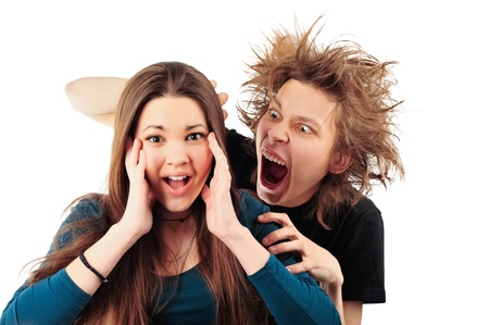 Mad man with funny hairdo tempting young girl for something