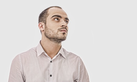 Fashion portrait of adult handsome business man looking away Stock Photo