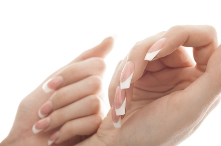 mild: Portrait of a pair of hands. Isolated white background.