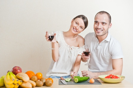 Young love couple cooking  photo