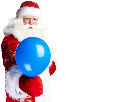 bawl: Traditional Santa Claus holding balloons for children. Isolated on white. Stock Photo