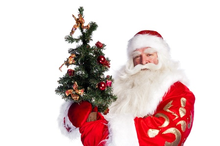 bawl: Christmas theme: Santa Claus holding christmas tree and his bag full of gifts over white background