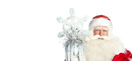 ded moroz: A traditional Christmas Santa Clause with staff isolated on white background
