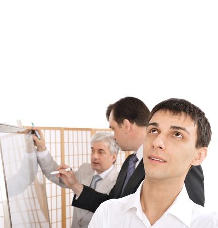 comité d entreprise: Portrait d'une planification de l'équipe. fond de bureau.