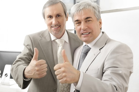 Portrait of two businessmen who approve. Office background.