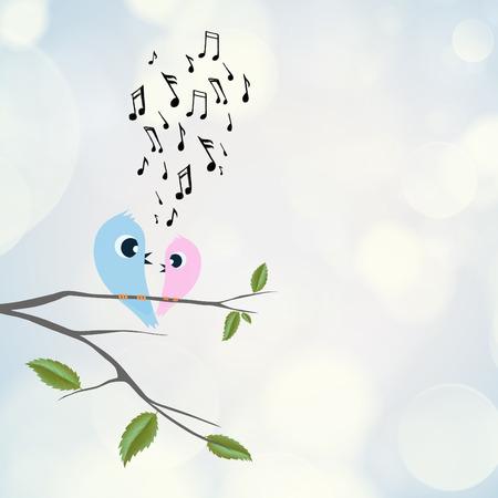 flirting: Two birds flirting and singing on branch