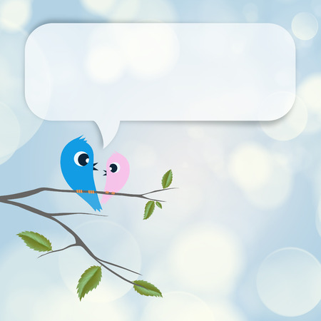 flirting: Two birds flirting and talking on branch, blank balloon with copyspace overhead Stock Photo