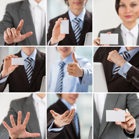 Business people collection of images with man and woman showing gestures and business cards photo