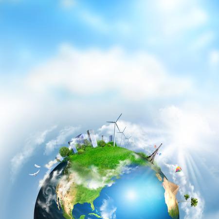 Aarde met de verschillende elementen op het oppervlak. Dag tijd