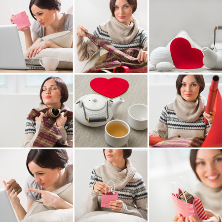 Valentines say or birthday image set with beautiful woman wrapping gifts and teaset for couple photo