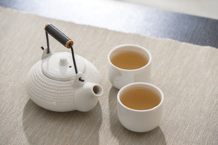 Tea set at comfortable lounge photo