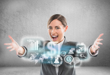 Technology concept. Businesswoman and virtual interface with web and social media icons Stock Photo