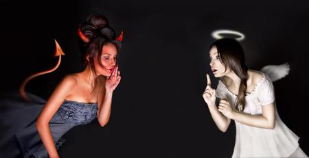 demon: Portret Anioł i Diabeł dziewcząt i copyspace między nimi.