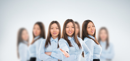 Universal worker concept: beautiful asian business woman standing in diverse poses
