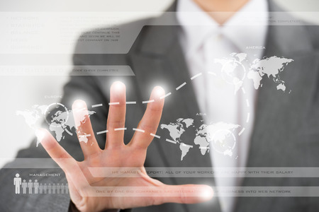 Business woman working with virtual interface. Globalization and technology concept photo