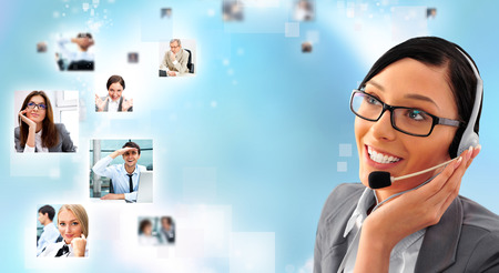 telemarketing: Telemarketing headset woman from call center smiling happy talking in hands free headset device. Business woman in suit on blue background and portraits of people Stock Photo