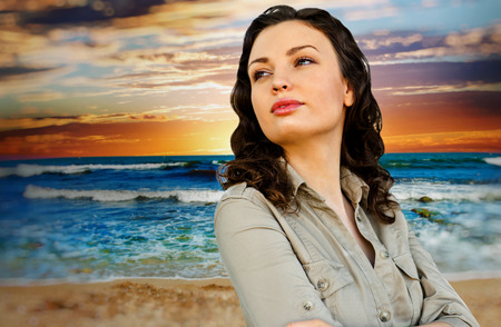 idealistic: Portrait of young woman at beach and enjoying time. Idealistic artistic  photo poster for advertisement banner