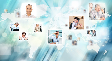 chat online: Photo of business people are glowing at world map. International business communication concept