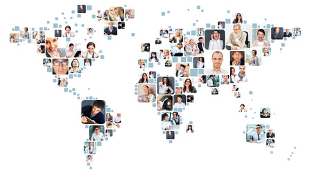 Collection of different people portraits placed as world map shape photo