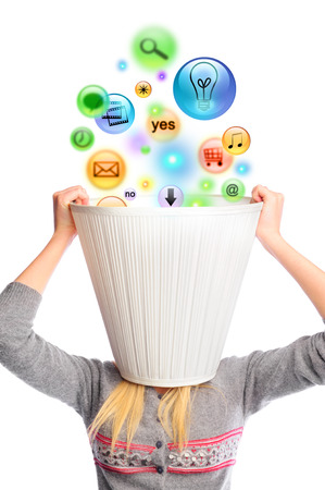 lampshade: Young woman with lampshade on her head and icons falling inside. Lots of daily tasks concept