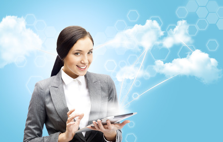 high tech device: Cloud computing concept and business network  Businesswoman works with cloud computer